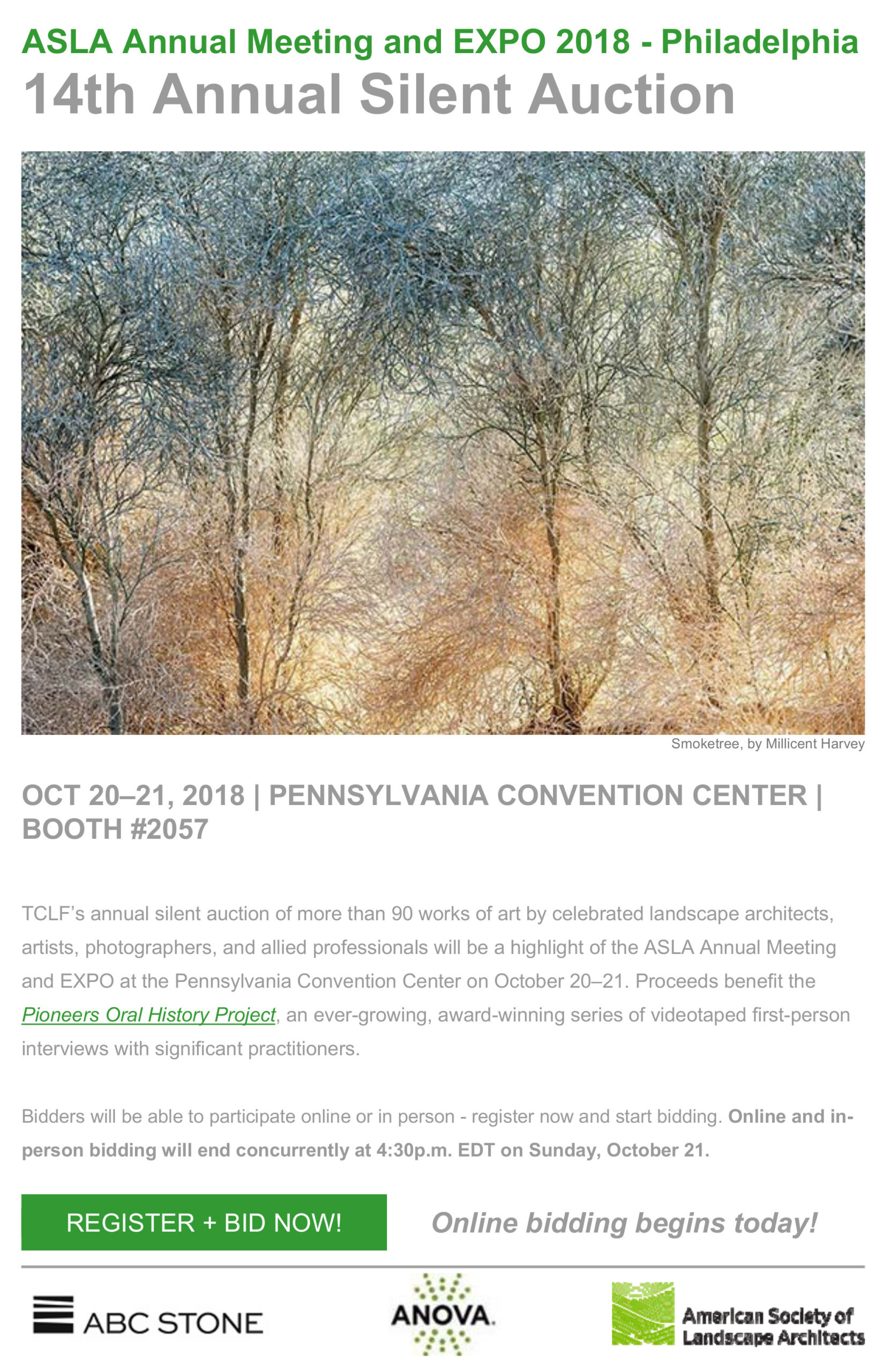 ABC Stone is proud to be a season sponsor of The Cultural Landscape Foundation, and a lead sponsor of TCLF's 14th Annual Silent Auction at the ASLA EXPO, Oct 20-21, 2018